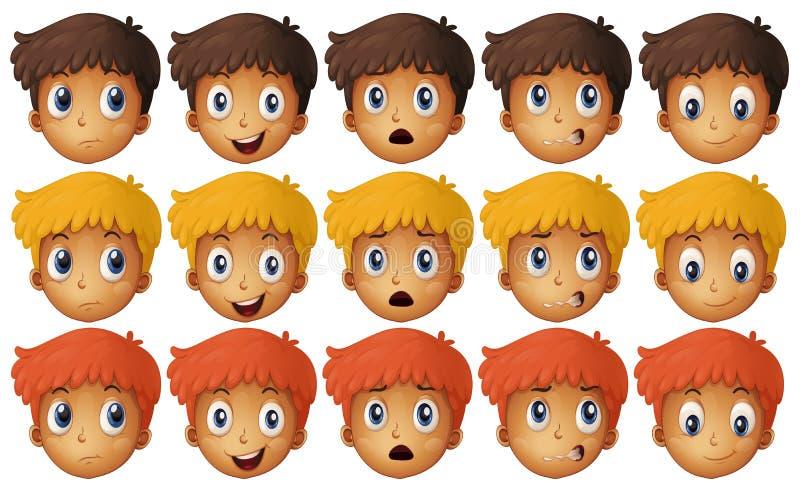 Jongen met verschillende emoties royalty-vrije illustratie