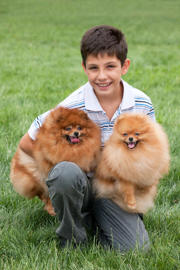 Jongen met zijn huisdieren stock afbeeldingen