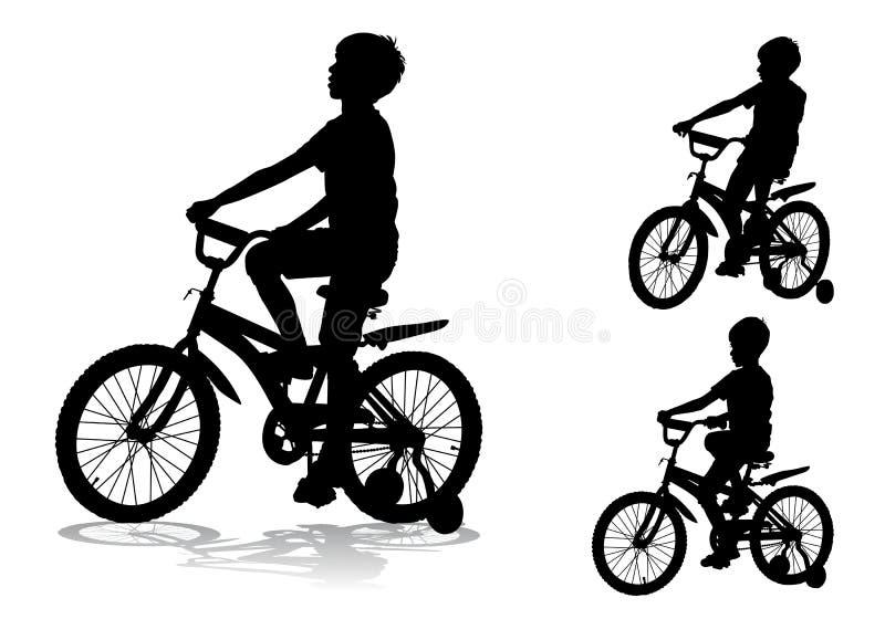 Jongen op fiets stock illustratie