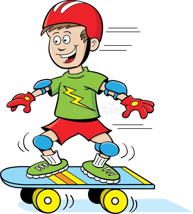 Jongen op Skateboard vector illustratie