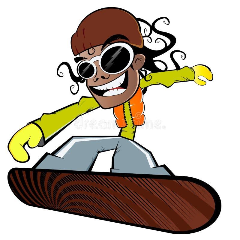 Jongen op snowboard   vector illustratie