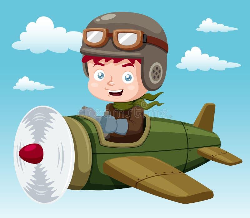 Jongen op vliegtuig royalty-vrije illustratie