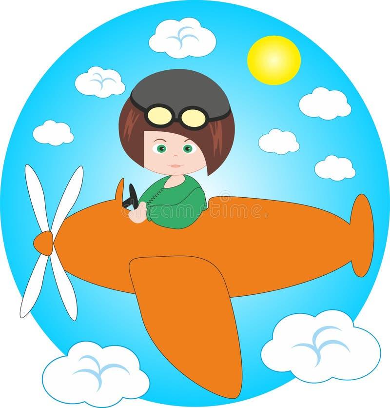 Jongen - proef op vliegtuig. stock illustratie