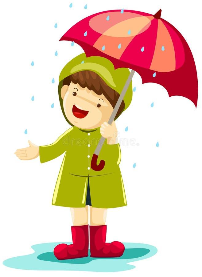 Jongen in regen stock illustratie