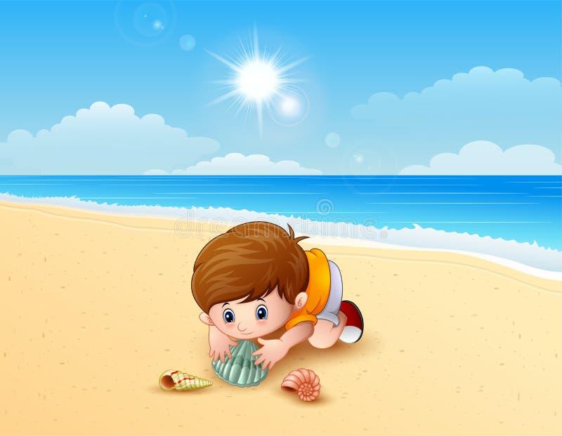 Jongen speel overzeese shells bij het strand vector illustratie