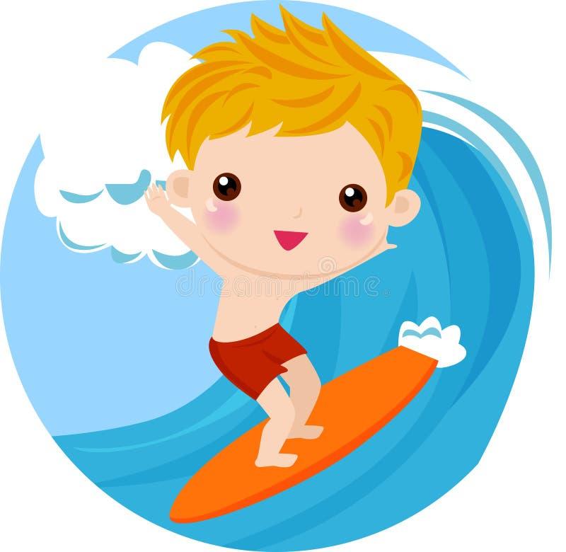 Jongen Surfer op de golf royalty-vrije illustratie