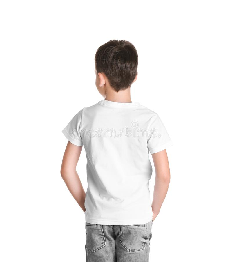 Jongen in t-shirt op witte achtergrond Model voor ontwerp royalty-vrije stock foto's