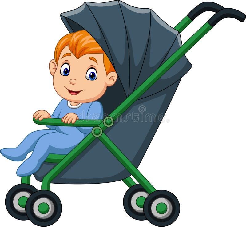 Jongen van de beeldverhaal de gelukkige baby in een wandelwagen royalty-vrije illustratie