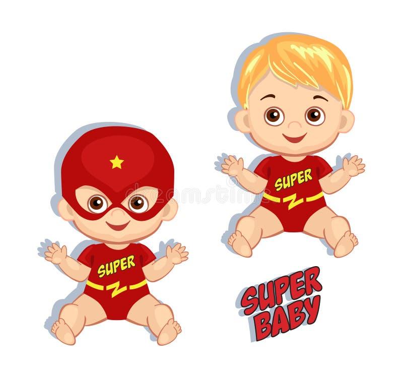 Jongen van de illustratie de leuke baby in het kostuum van een superhero royalty-vrije illustratie