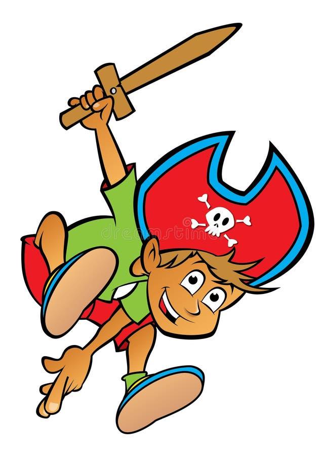 Jongen van het beeldverhaal kleedde zich als piraat stock illustratie