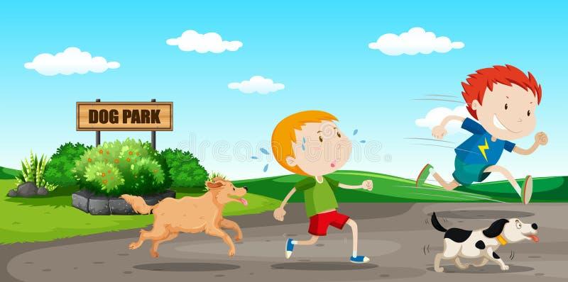 Jongen vanaf hond in werking die wordt gesteld die vector illustratie
