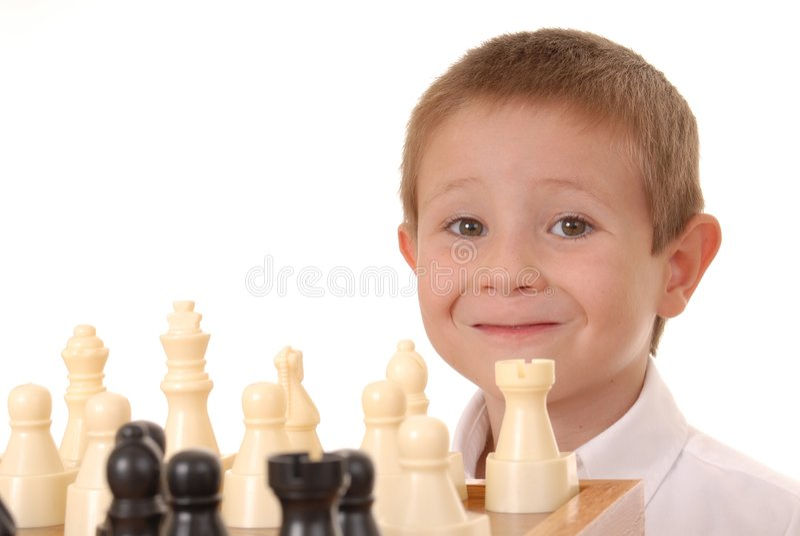 Jongen Vier van het schaak royalty-vrije stock fotografie