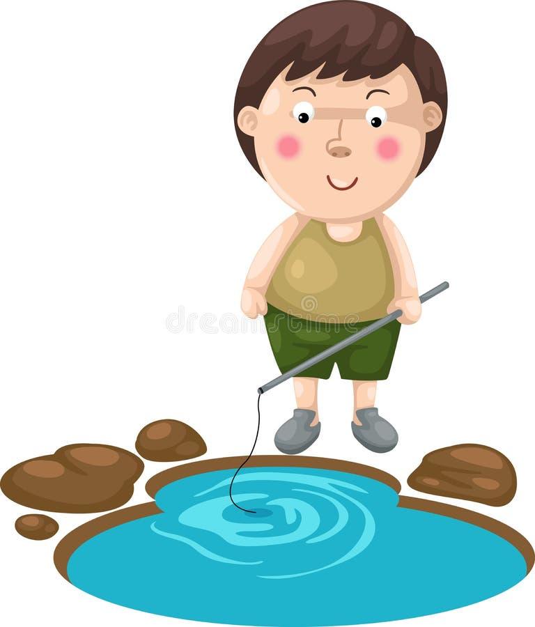 Jongen visserij stock illustratie