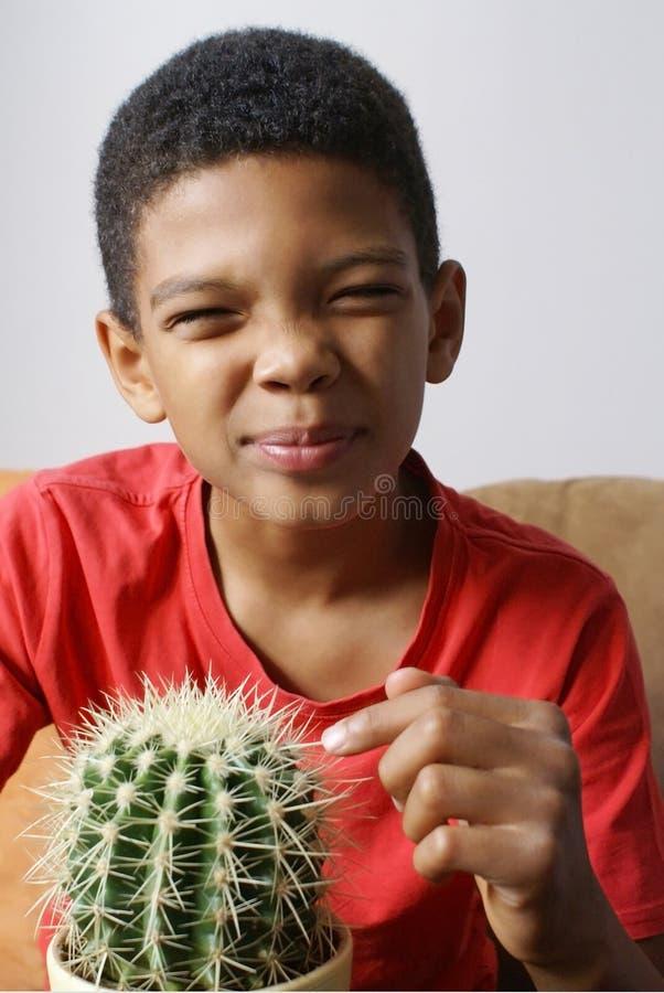 Jongen wat betreft cactus stock foto's