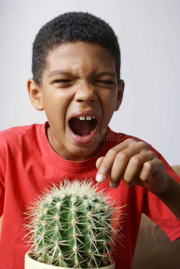 Jongen wat betreft cactus stock afbeelding