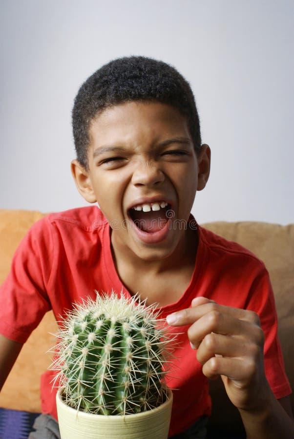 Jongen wat betreft cactus royalty-vrije stock afbeeldingen