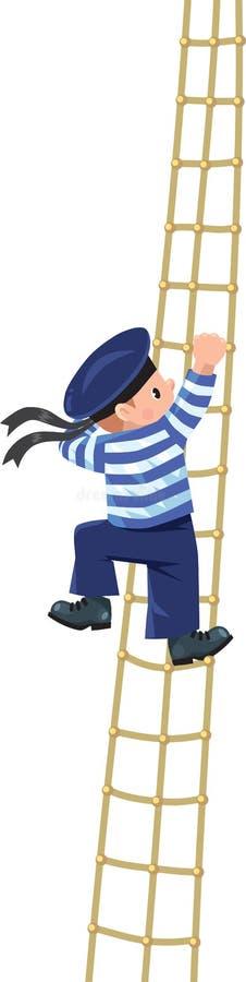 Jongen-zeeman die de sluiers beklimmen vector illustratie