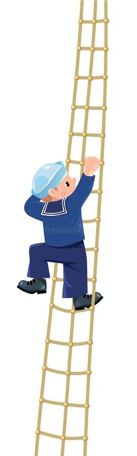 Jongen-zeeman die de sluiers beklimmen stock illustratie