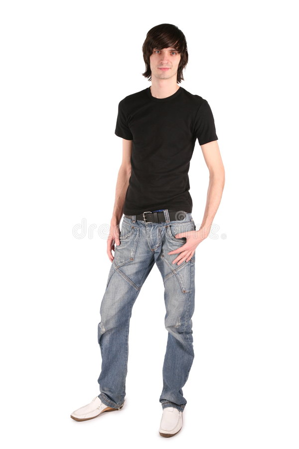 Jongen in zwart overhemd stock fotografie