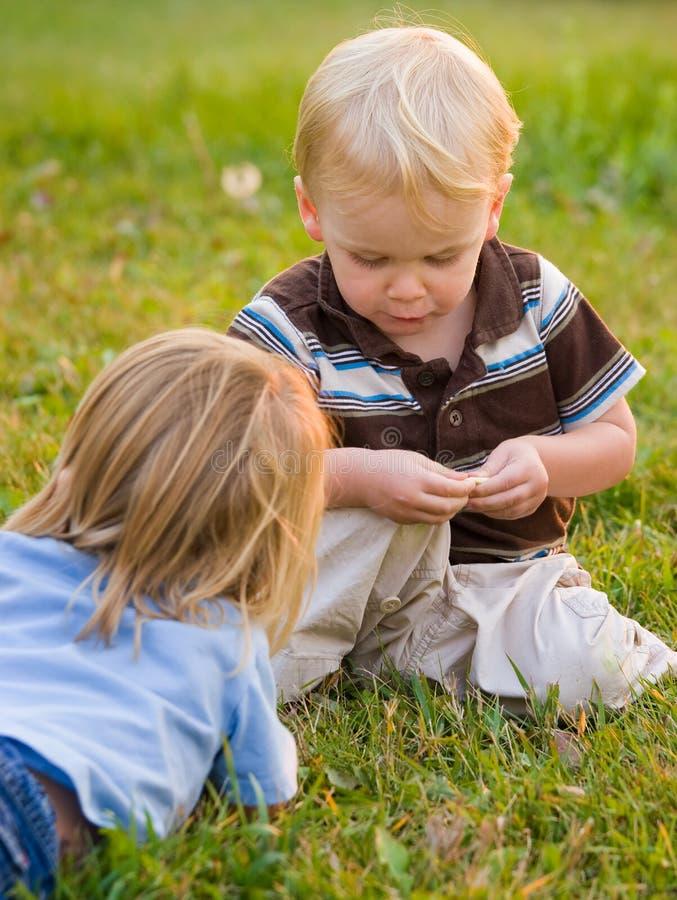 Jongens die in aard spelen stock afbeelding