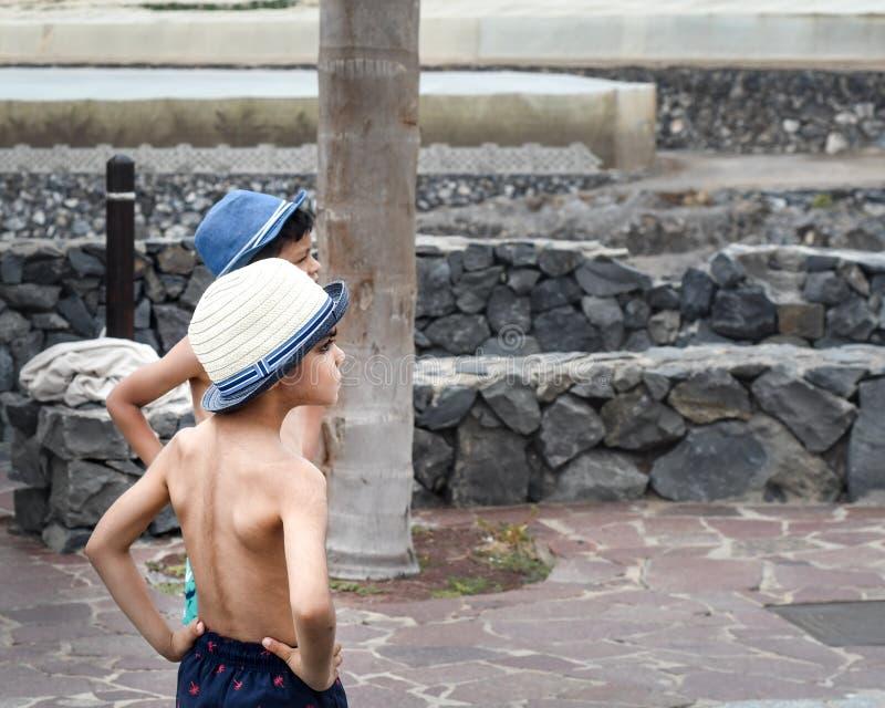 Jongens die op een beachside spelen stock foto