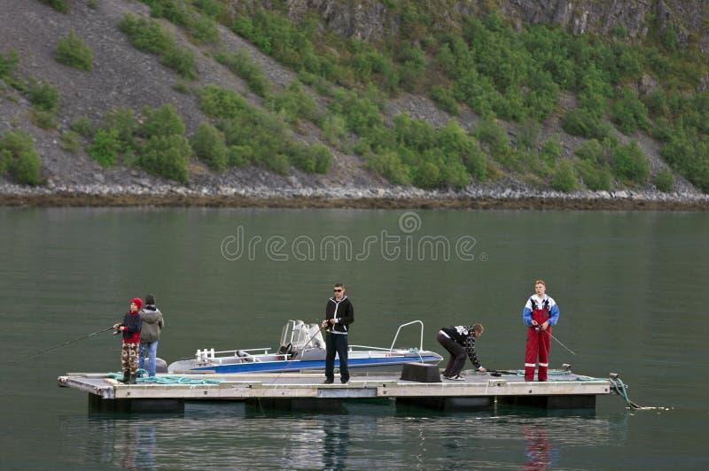 Jongens die van platform vissen stock fotografie