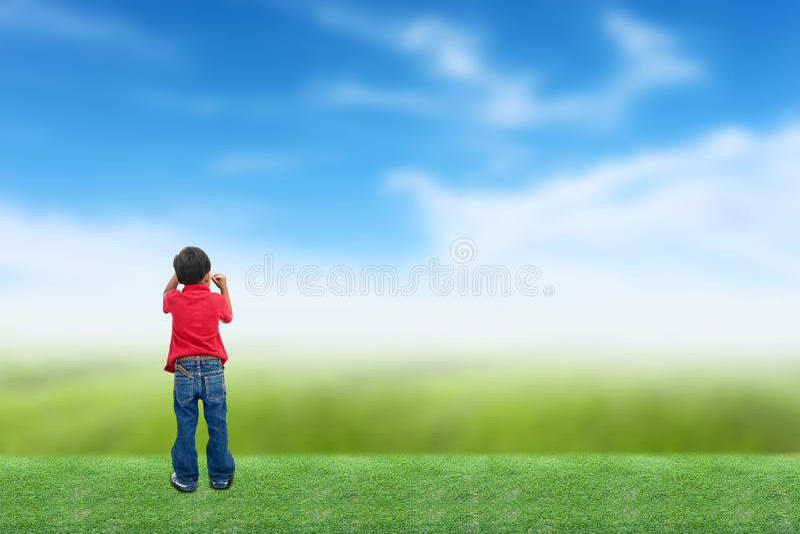 Jongens drowing hemel stock foto's