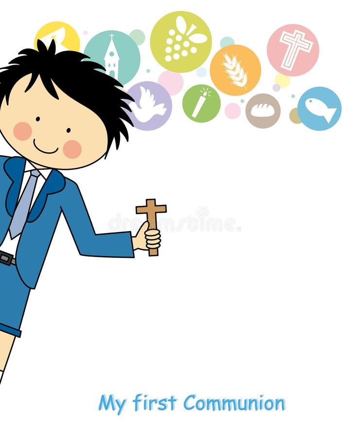Jongens eerste Heilige Communie stock illustratie