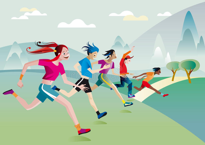 Jongens en meisjes die over gebied lopen vector illustratie