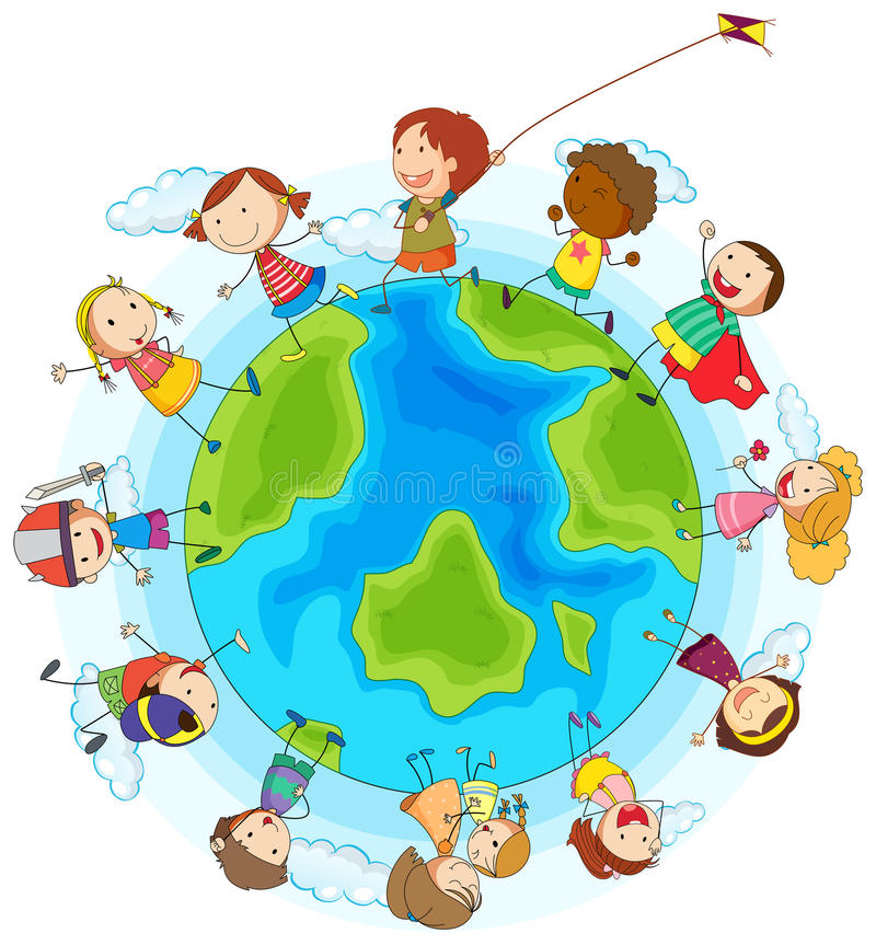 Jongens en meisjes die rond de wereld spelen stock illustratie