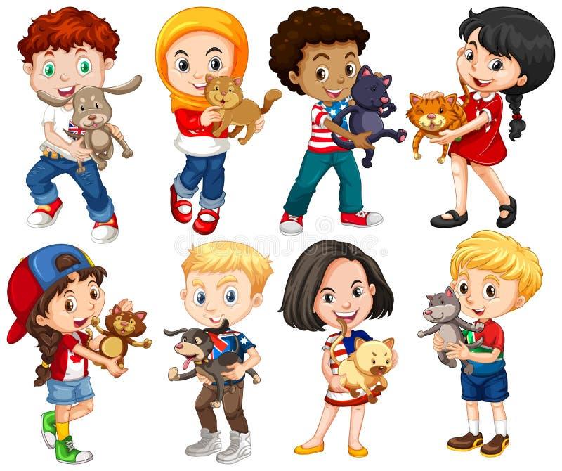Jongens en meisjes met hun huisdieren stock illustratie