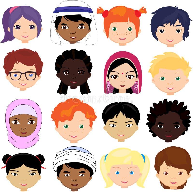 Jongens en meisjes van verschillende nationaliteiten royalty-vrije illustratie