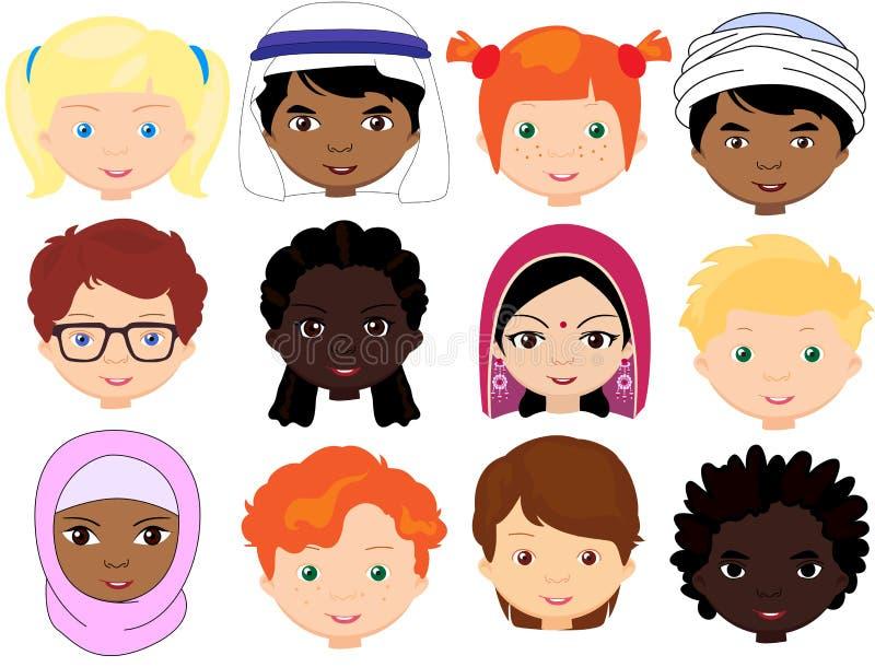 Jongens en meisjes van verschillende nationaliteiten Multinationale childre royalty-vrije illustratie