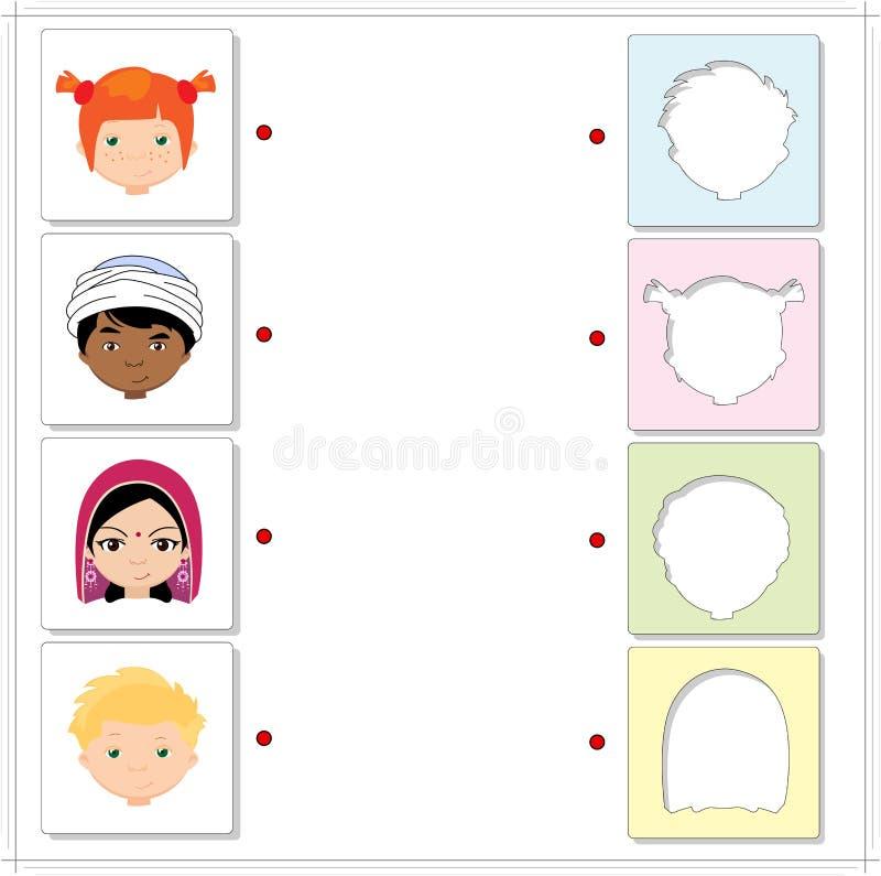 Jongens en meisjes van verschillende nationaliteiten Onderwijsspel voor royalty-vrije illustratie