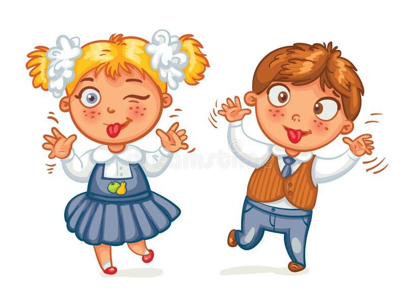 Jongens en meisjesgrimas bij de camera royalty-vrije illustratie
