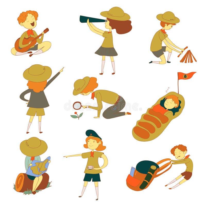 Jongens en meisjesverkenners Vector illustratie op witte achtergrond royalty-vrije illustratie