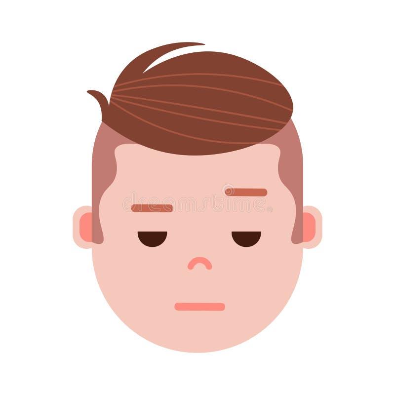 Jongens hoofdemoji met gezichtsemoties, avatar karakter, mensen treurig gezicht met verschillend mannelijk emotiesconcept vlak vector illustratie