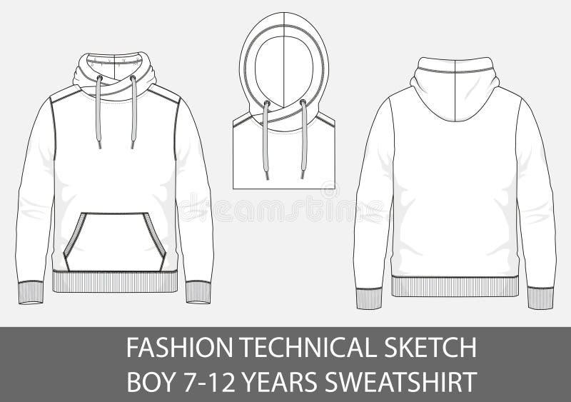 Jongens 7-12 jaar van de manier technisch schets sweatshirt met kap royalty-vrije illustratie