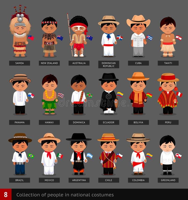 Jongens in nationale kostuums met vlaggen royalty-vrije illustratie