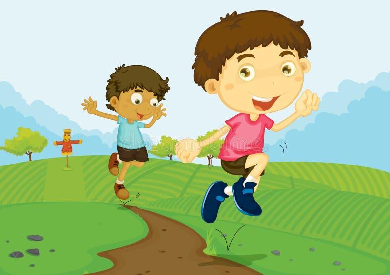Jongens op een gebied vector illustratie