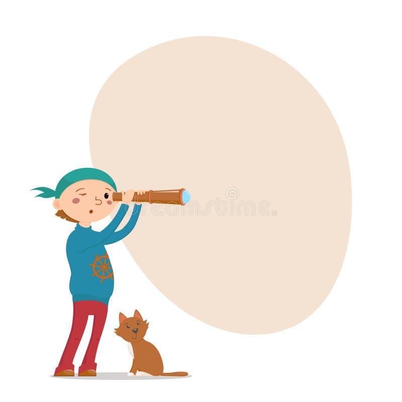Jongens speelpiraat, kat, kijker, plaats voor tekst vector illustratie