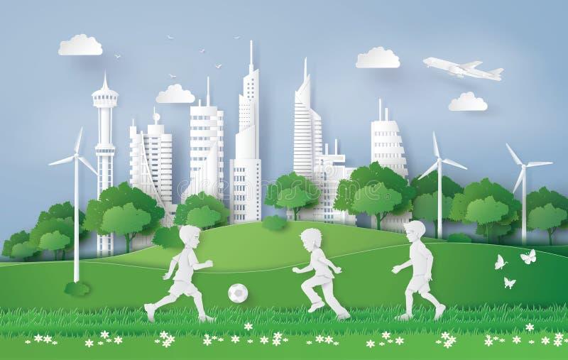 Jongens speelvoetbal in het stadspark royalty-vrije illustratie