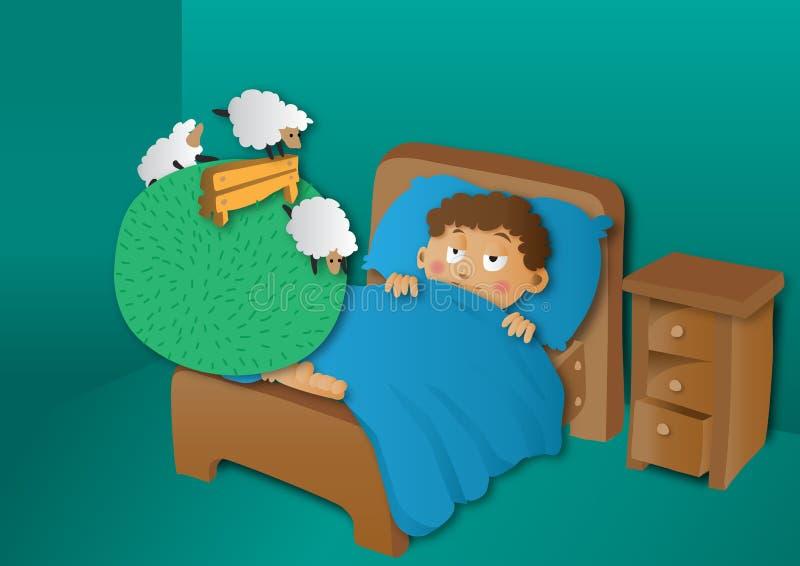 Jongens tellende schapen in bed royalty-vrije illustratie