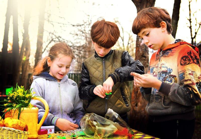 Jongens van het Preteen leren de knappe land en het mooie meisje ho stock foto's