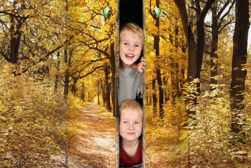 Jongens van Voetpad in herfstparkdeuren stock afbeeldingen