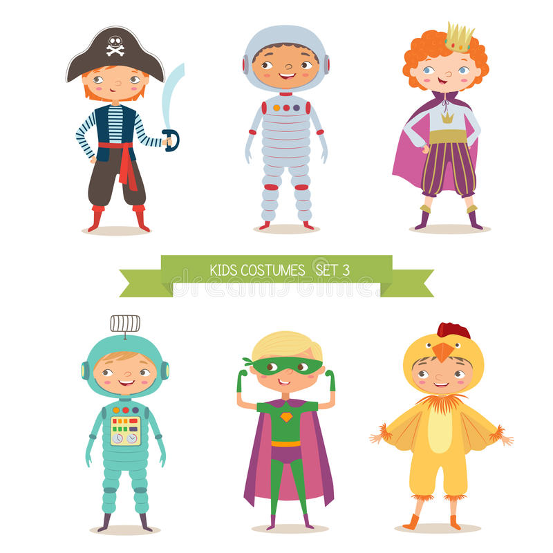 Jongens in verschillende kostuums voor partij of vakantie vector illustratie