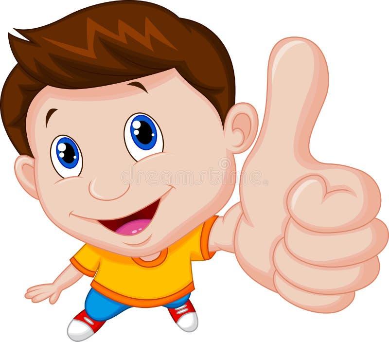 Jongensbeeldverhaal met omhoog duim vector illustratie