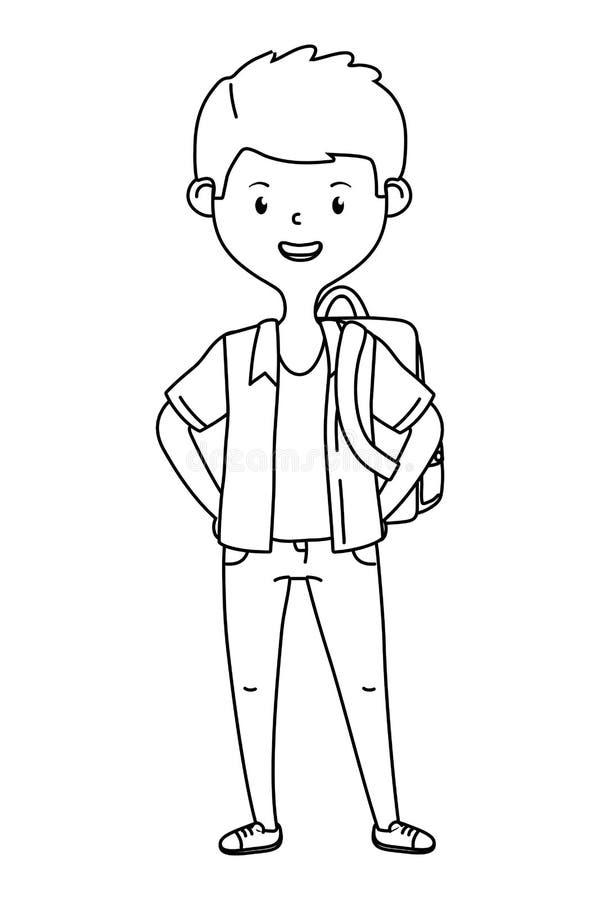 Jongensbeeldverhaal van schoolontwerp vector illustratie