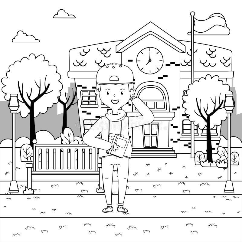 Jongensbeeldverhaal van schoolontwerp royalty-vrije illustratie