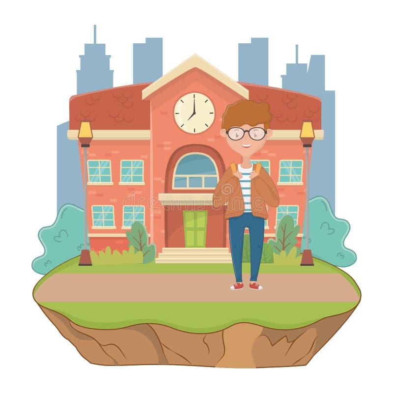 Jongensbeeldverhaal van schoolontwerp stock illustratie